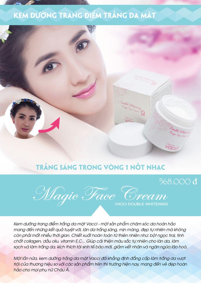 Kem dưỡng trang điểm trắng da mặt - Vacci Double Whitening Magic Face Cream