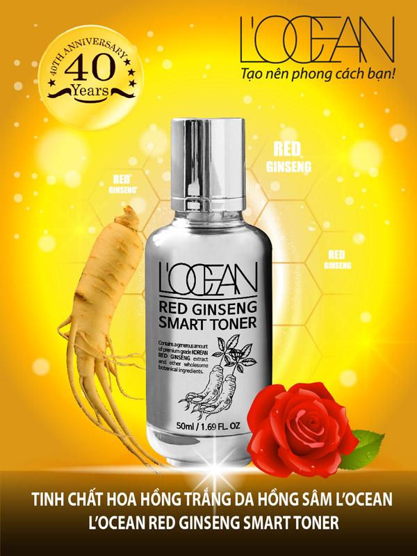 Tinh chất hoa hồng trắng da hồng sâm L'ocean - L'ocean red ginseng smart toner