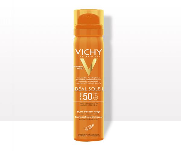 Xịt khoáng chống nắng Vichy Ideal Soleil giảm dầu khô ráo & không gây nhờn rít spf 50  UVA & UVB