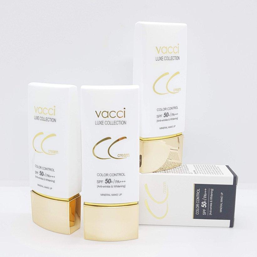 Kem phấn nền dưỡng trắng da đa chức năng CC Cream Vacci spf50/pa   thế hệ mới