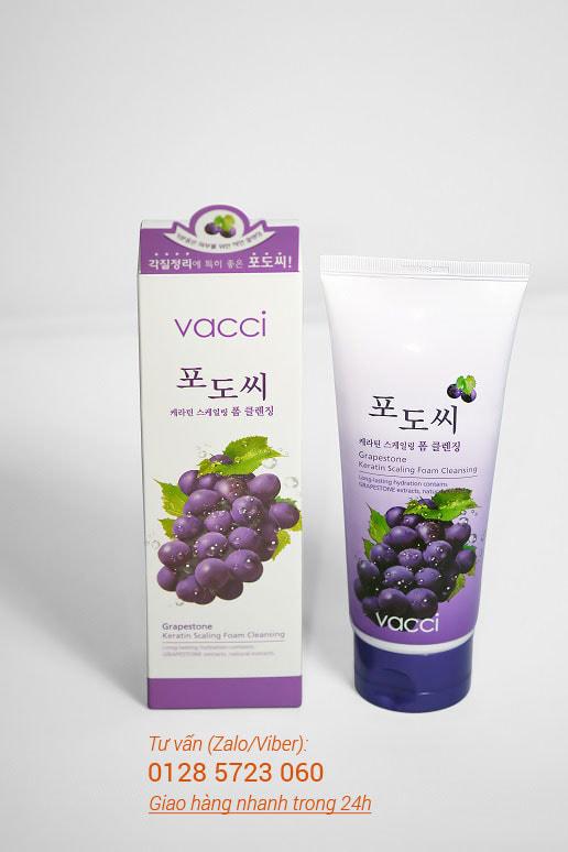 Sữa rửa mặt Vacci tinh chất hạt nho - Grapestone Keratin Scaling Foam Cleansing