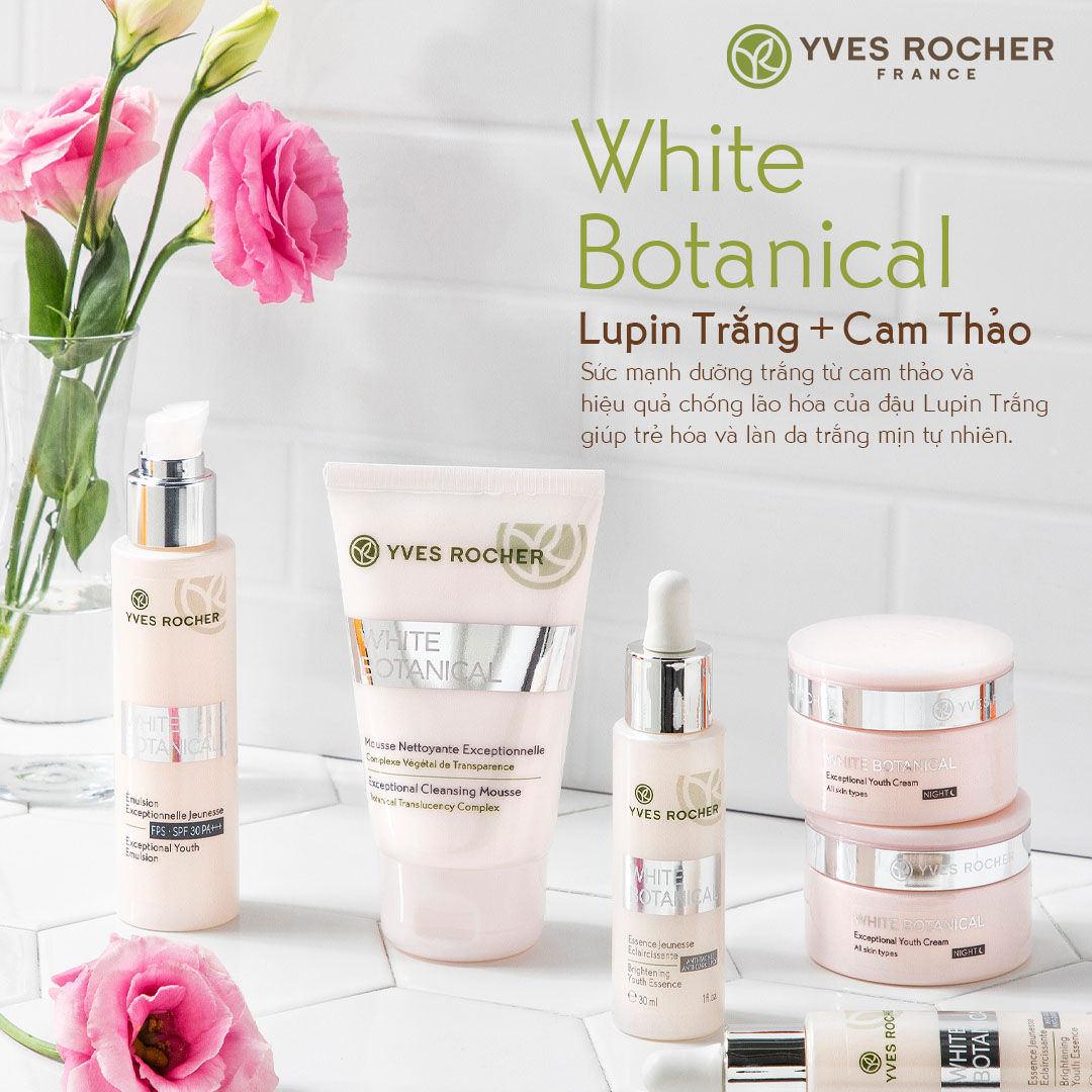 Sữa rửa mặt Yves Rocher làm sáng da White Botanical Exceptional Cleansing Mousse